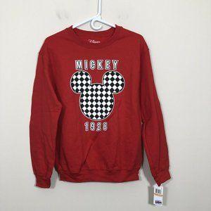 Disney Size S Red Black & White Checker Sweatshirt